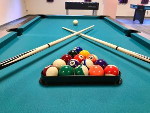 play billiard in our game room at night or on rainy days