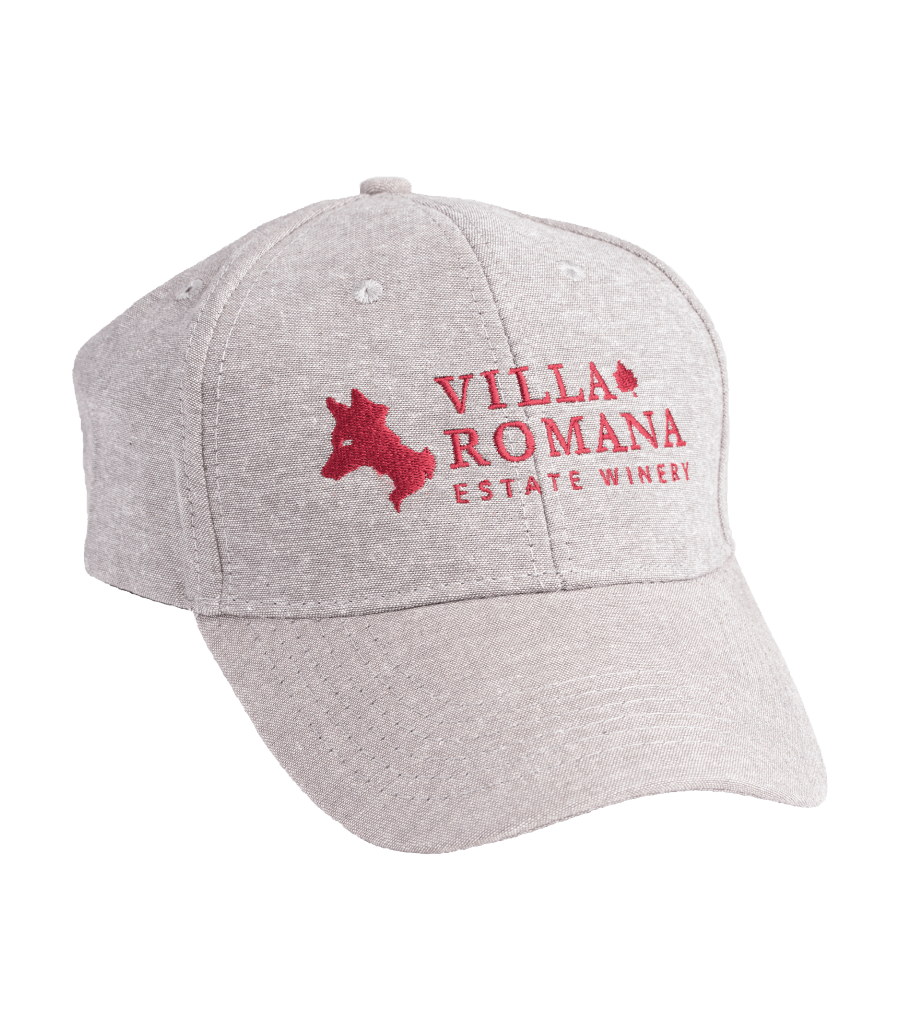 Baseball Cap with Villa Romana Estate Winery logo embroidered on the front in burgundy.