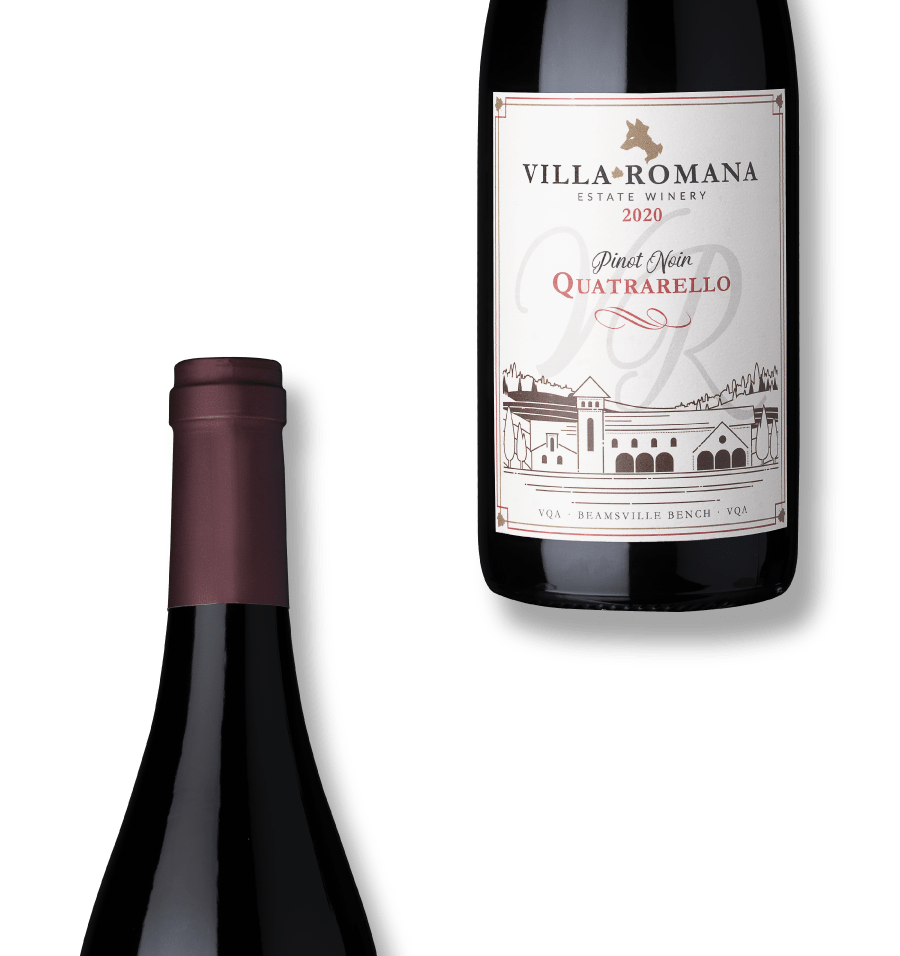 Two bottles of 2020 Quatrarello Pinot Noir Red wine from Villa Romanan Estate Winery with a white background.