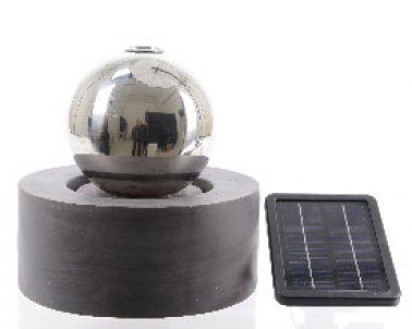 fontaine solaire boule acier exterieur