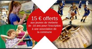Inscrivez-vous à une association de Verberie et bénéficiez d'une réduction de 15 € si vous avez moins de 18 ans.