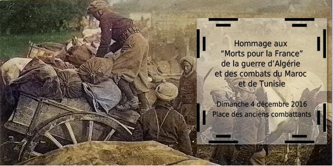 Hommage aux morts pour la France le 4 décembre prochain.