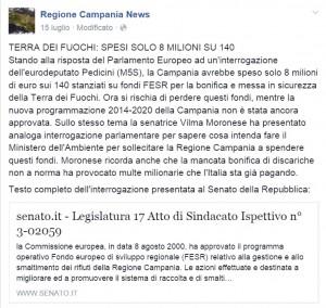 fondi europei terra dei fuochi la regione non li ha spesi interrogazione m5s