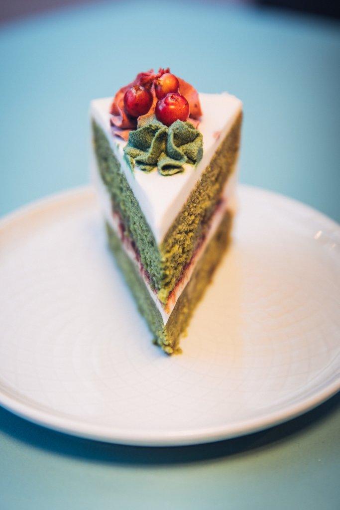 Spinach cake at Chaika in Vilnius