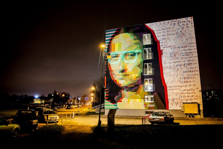 Mona Lisa street art work by Linas Kaziulionis