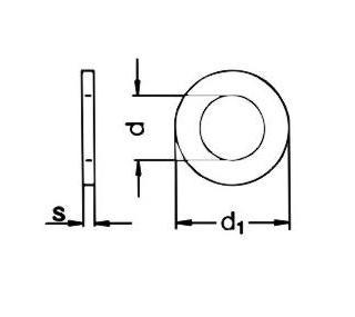 Poveržlė DIN125 Zn M3; M4; M5; M6; M8; M10; M12; M14; M16