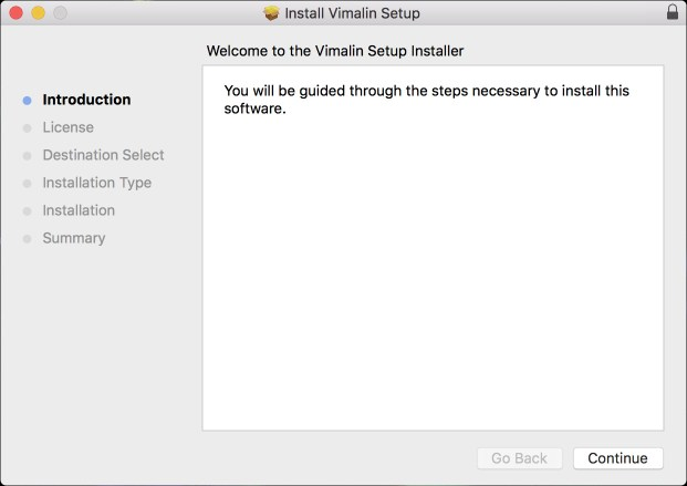 Vimalin Installer - Welcome page