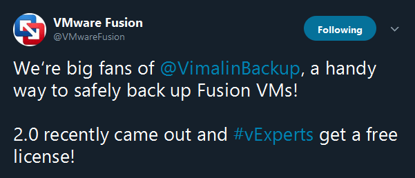 twitter VMware Fusion about Vimalin