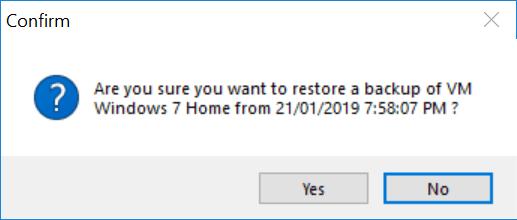 Vimalin - confirmation for restoring VM Backup