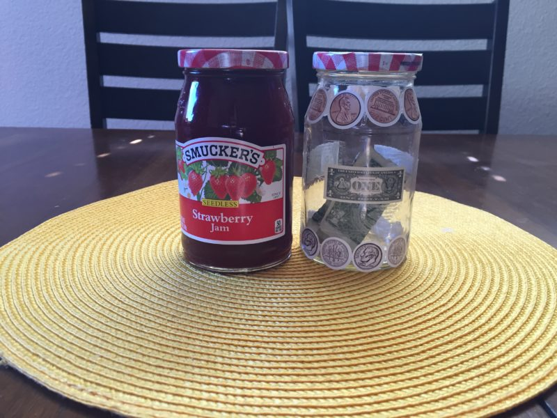 Piggy bank using Smuckers Jelly bottle