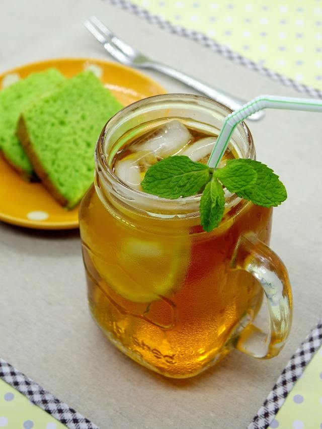 a cup of mint tea or herbal tea