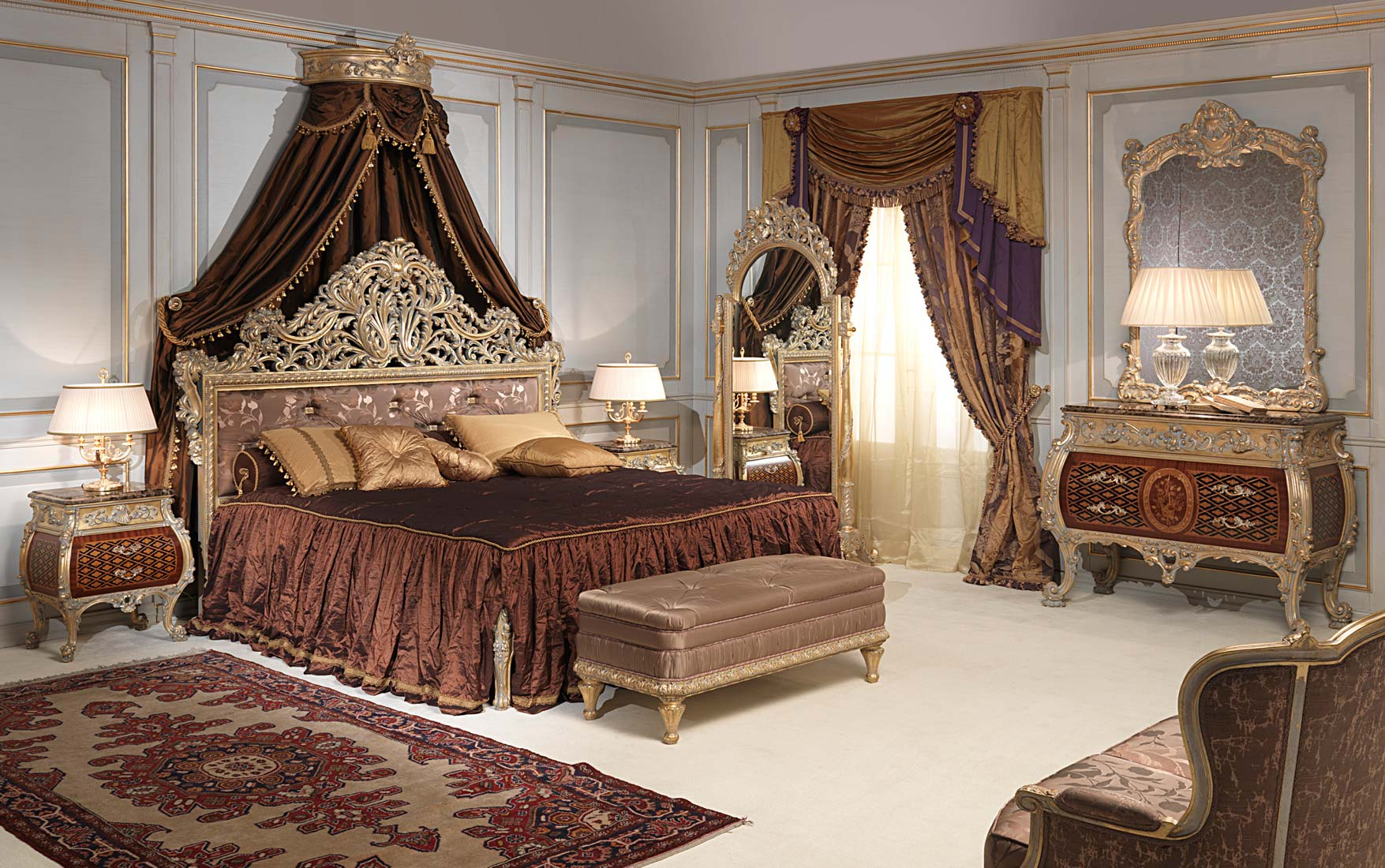 Classic Emperador Gold Bedroom In Louis Xv Style