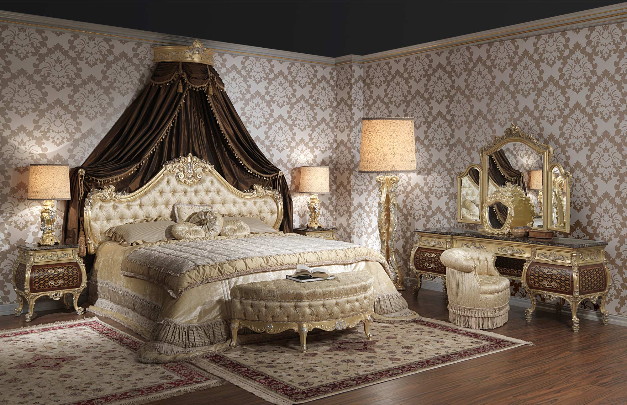 Luxury bed Emperador Gold art 397931  Vimercati Classic