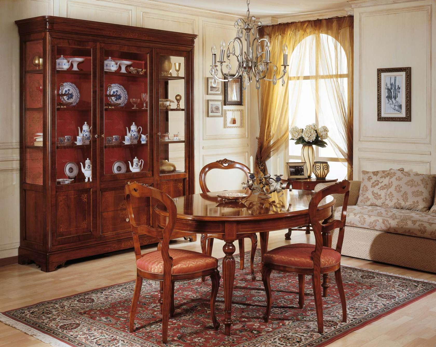 Dining room french 19th century table and glass showcase