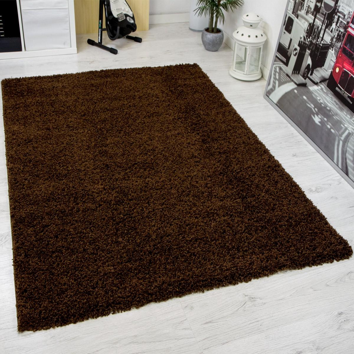 Hochflor Shaggy Teppich Modern Wohnzimmer Teppich Unifarbe