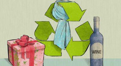 Illustration de cadeaux recyclables et réutilisables