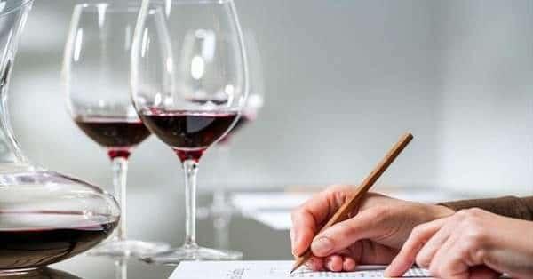 comment déguster le vin étape 4 femme pensant à l'expérience avec l'illustration des émoticônes