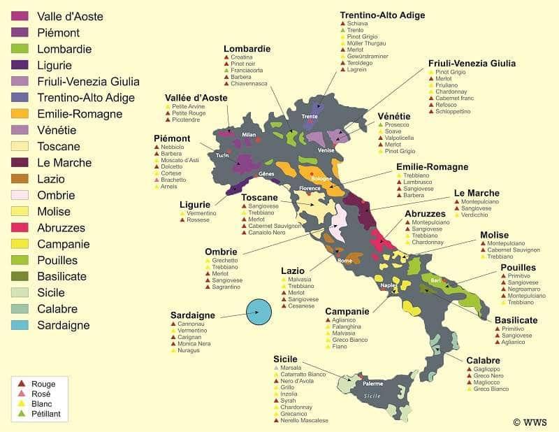Carte des régions viticoles italiennes