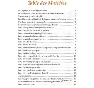 Table des Matières - Les Miracles du Vinaigre pour la Santé