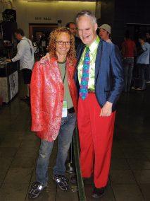 Vincent trades coats with festival director Dan Brawley.