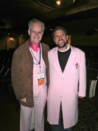 Trading coats with filmmaker Todd Looby.