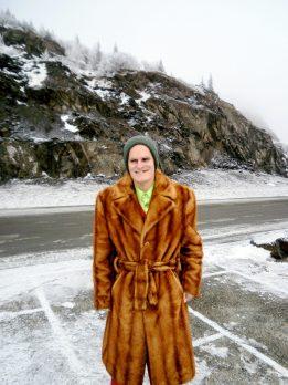 Vincent in faux fur at Beluga Point.