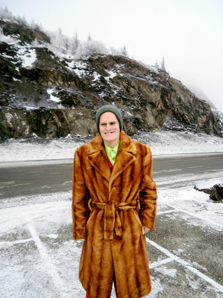 Vincent in faux fur at Beluga Point.
