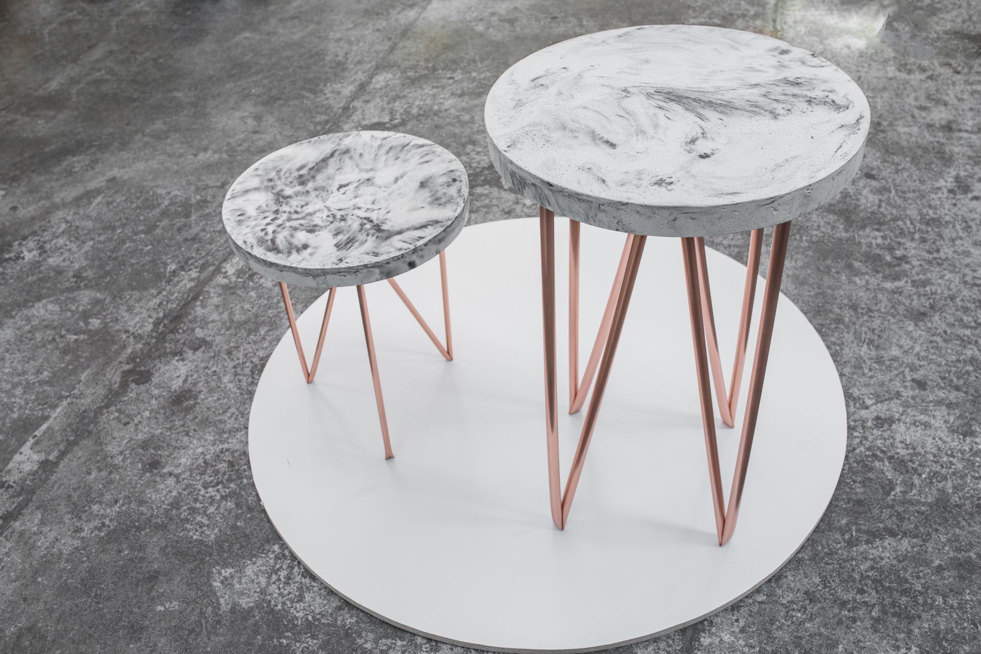 copper concrete circle a side table