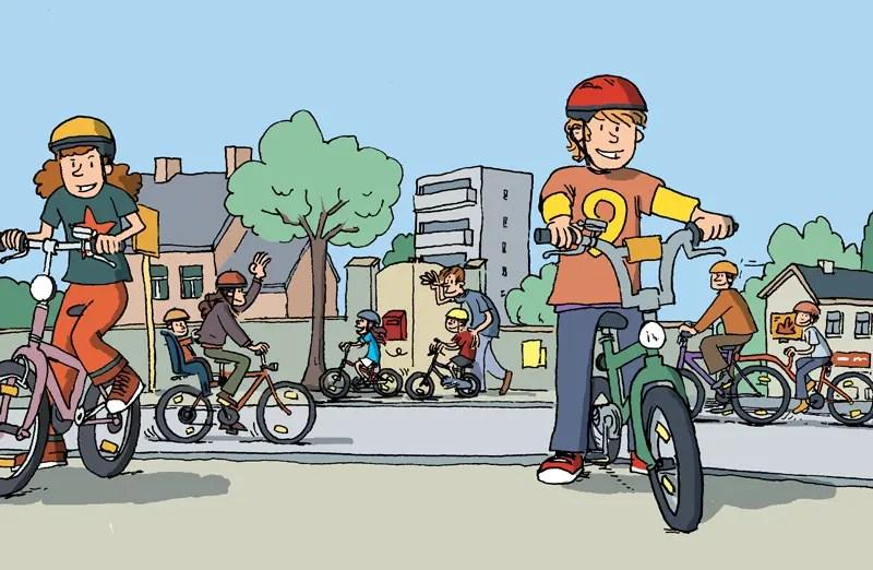 Le vélo, Dessin de couverture pour une brochure éditée par l'Institut belge de sécurité routière (IBSR).