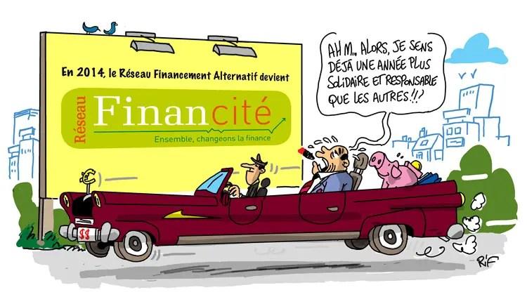 illustration de la carte de vœux 2014 du Réseau Financité