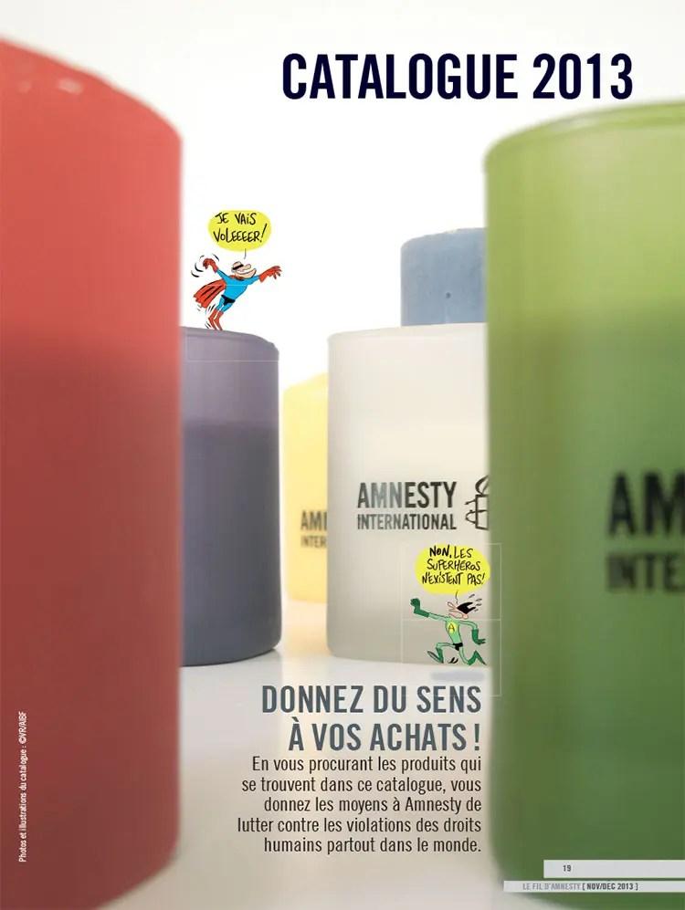 Couverture du catalogue de fin d'année Amnesty