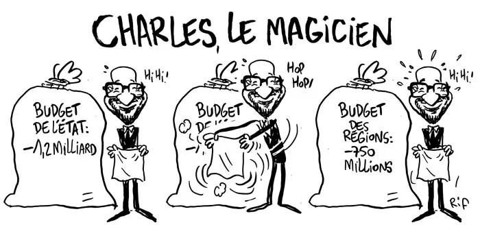 Charles Michel et ses principaux ministres ont annoncé avoir trouvé les 1,2 milliard d'euros nécessaires pour ajuster l'exercice comptable 2015. L'effort est renvoyé vers les Régions, en vertu de la 6ème réforme de l'État et la nouvelle loi de financement qui l'accompagne. Elle a rapporté 750 millions d'euros au budget fédéral. Non concertée, les Régions sont furieuses.