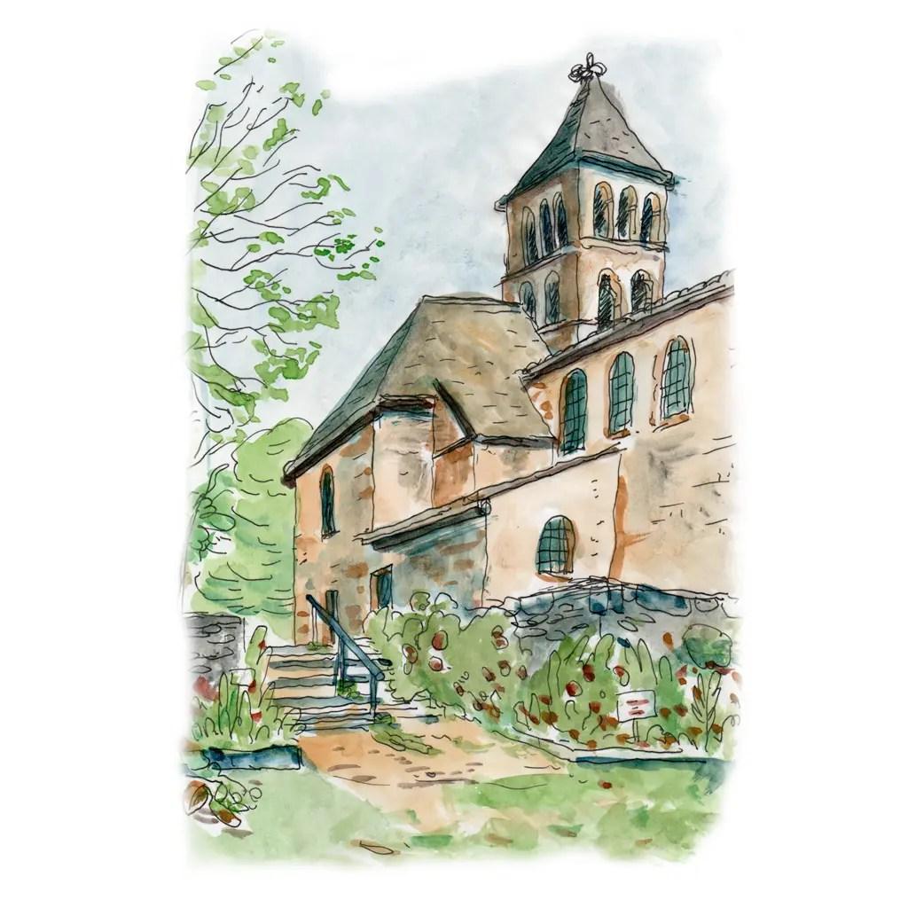 Aquarelle de l'église de la commune de Saint-Léon sur vézère, Périgord