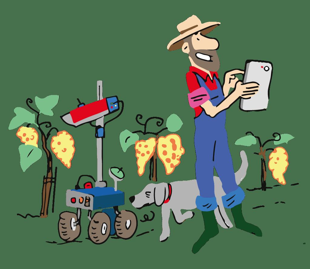 Les nouvelles technologies au service de l'agriculture. Illustration de Vincent Rif en Adobe Illustrator.