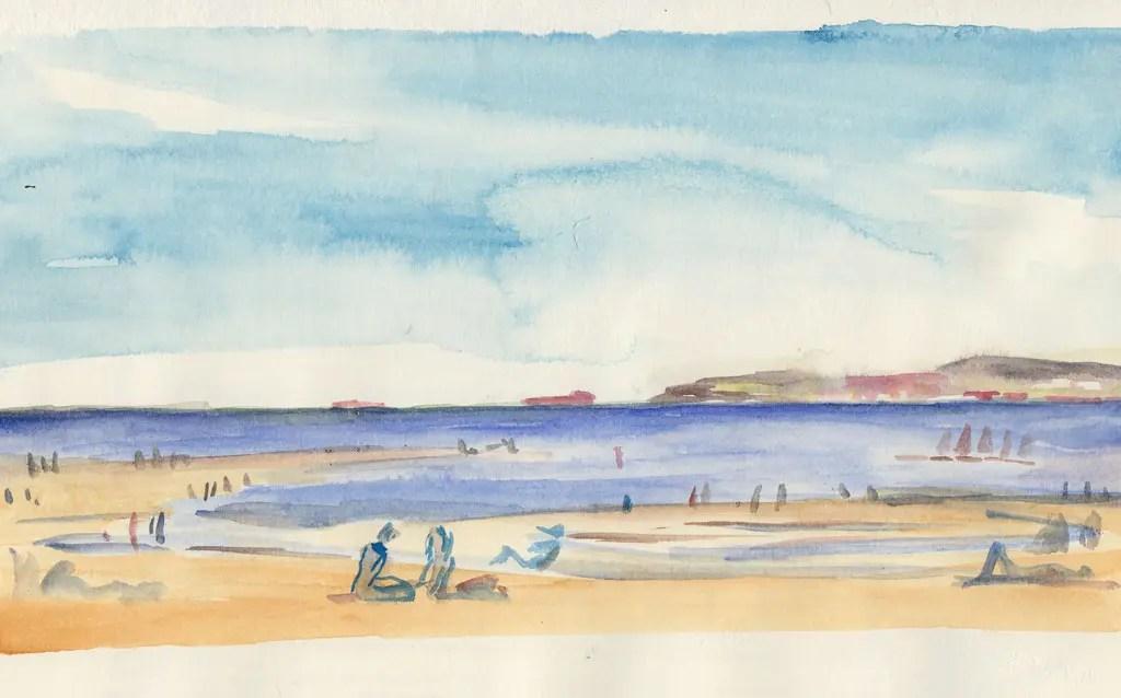 Aquarelle de la plage de Trouville