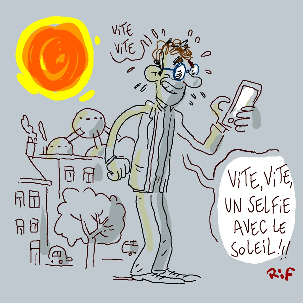 Vite, un selfie d'un Bruxellois avec le soleil!