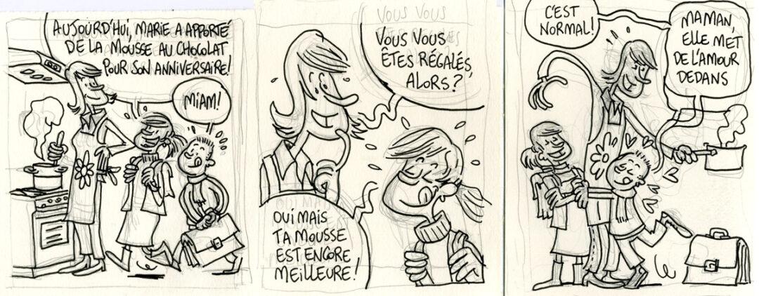 Crayonné pour un strip de bande dessinée pour les éditions Averbode.