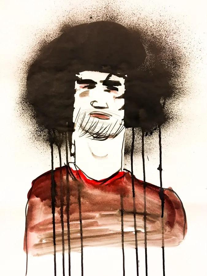Caricature de Felani par Vincent Rif, Feutre et vaporisateur d'encre.