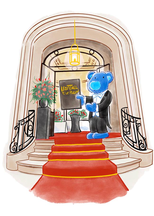 maitre d'hotel dans escalier hotel Plaz de Bruxelles, Brasserie Esterel