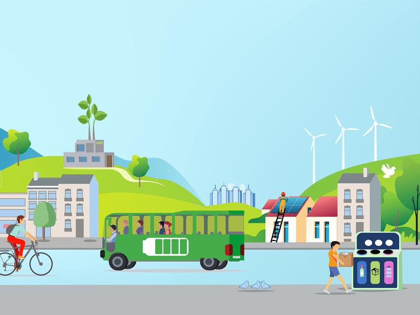 Illustration (Adobe Illustrator) sur la décarbonisation (recyclage, vélo, panneaux solires, éolien, voiture électriques, transport en commun, végétation dans les villes, etc.)