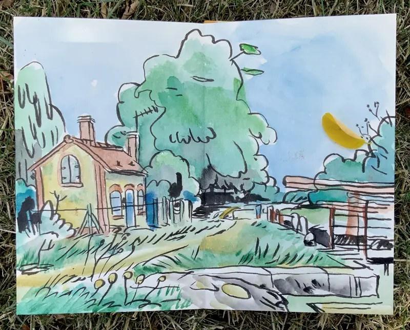 Maison d'écluse à Briare dans le Loiret - aquarelle sur carnet de voyage