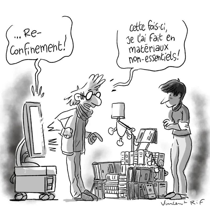 dessin d'humour sur l'annonce du reconfinement et de la fermeture des commerces dits-non-essentiels