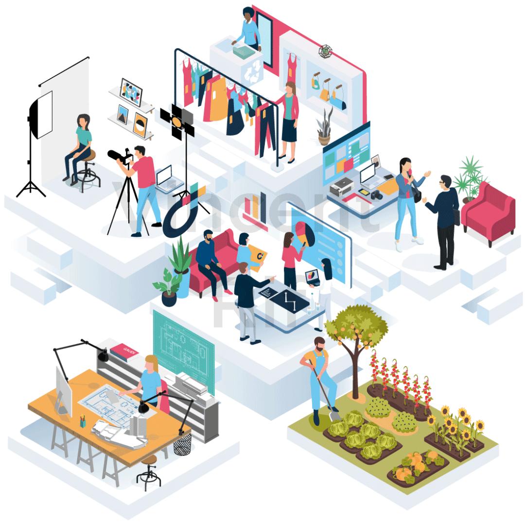 Illustration en perspective isométrique présentant les métiers présents dans la coopérative d'entrepreneurs Dies