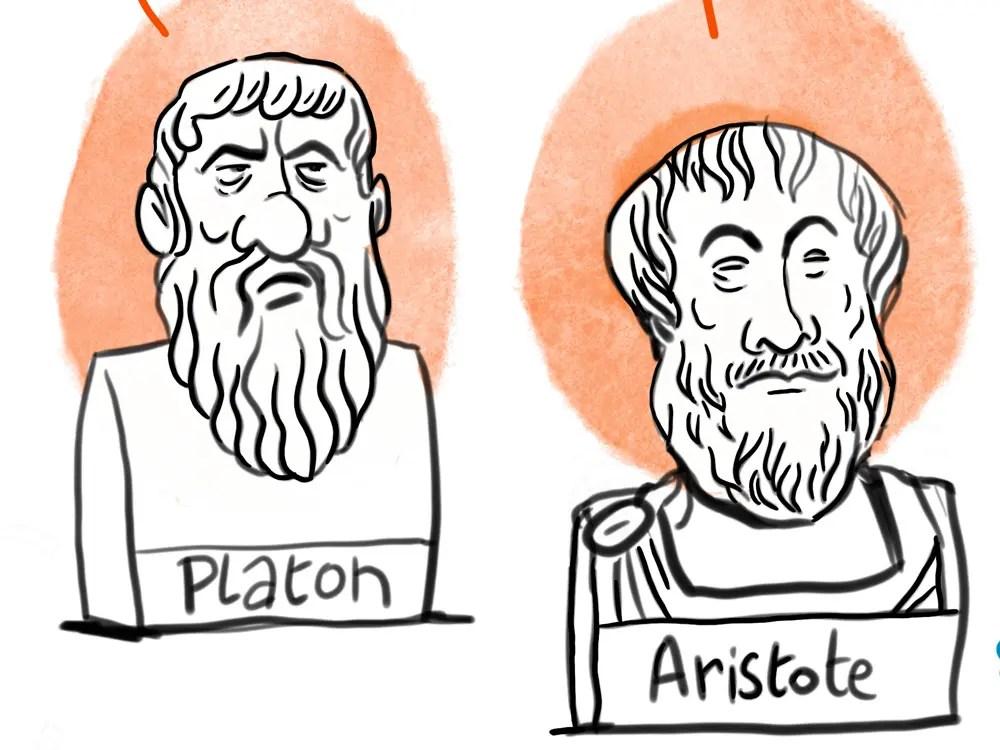 dessin portraits de aristote et platon, philiosophes