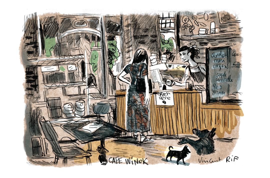Urban Sketching (dessin urbain) au Café Winok, avenue Luis Betrand à Schaerbeek. Par Vincent Rif, septembre 2021