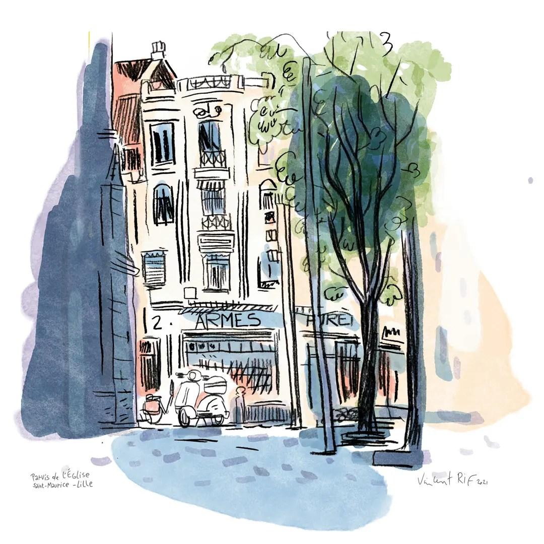 Portfolio de dessins et aquarelles faites à Lille par Vincent Rif.