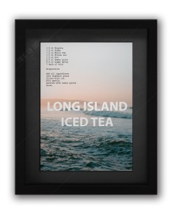 Long Island Ice Tea Cocktail Recipe Print in Black