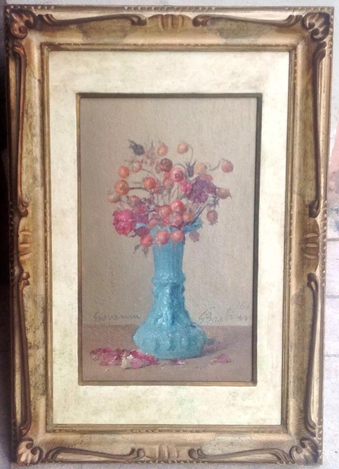 Giovanni Barbisan pittore di Treviso del 900 olio si tela vaso con fiori