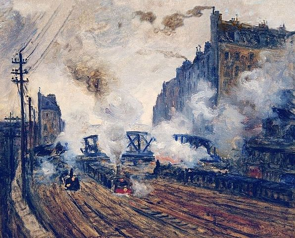 """Jeu de lumière dans les fumées des trains dans """"La tranchée des Batignoles"""". Monet"""