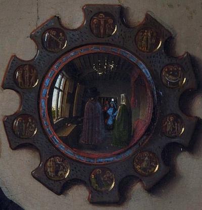 Détail: le miroir concave dans Le Portrait des Arnolfini Van Eyck (1434)
